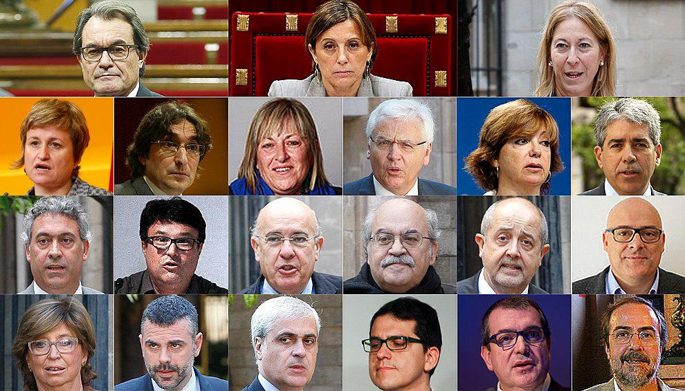 De izquierda a derecha y de arriba a abajo: Artur Mas, Carme...