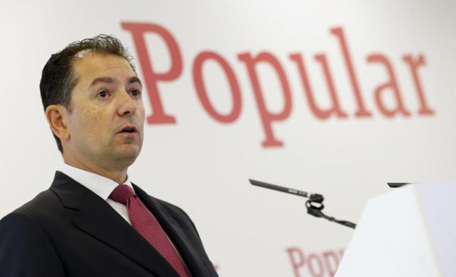 Francisco Gómez, consejero delegado del Banco Popular, durante una...
