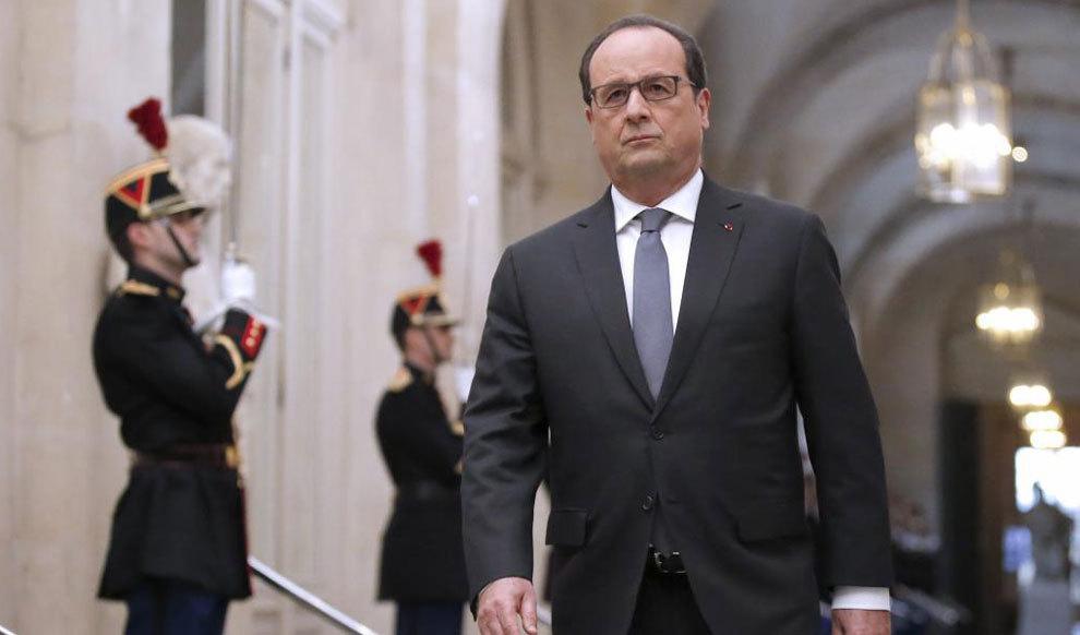El primer ministro francés, François Hollande, ayer en la reunión...