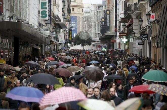 La céntrica calle Preciados de Madrid durante el 'Black Friday' de...