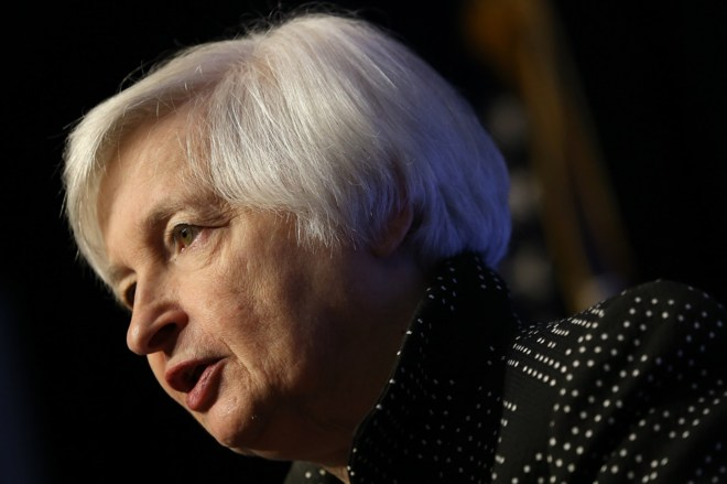Janet Yellen, presidenta de la Reserva Federal, durante su discurso en...