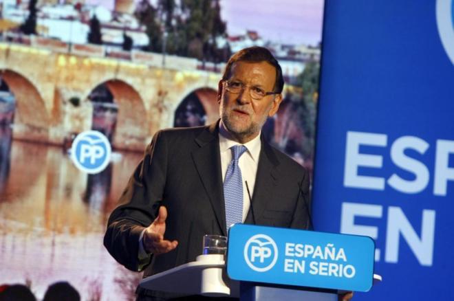 Rajoy durante un acto del Partido Popular ayer en Badajoz