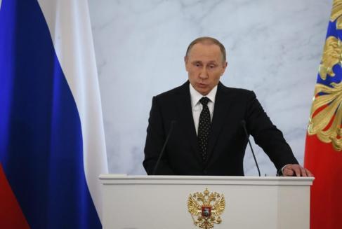 El presidente ruso, Vladimir Putin, da su discurso anual ante la...