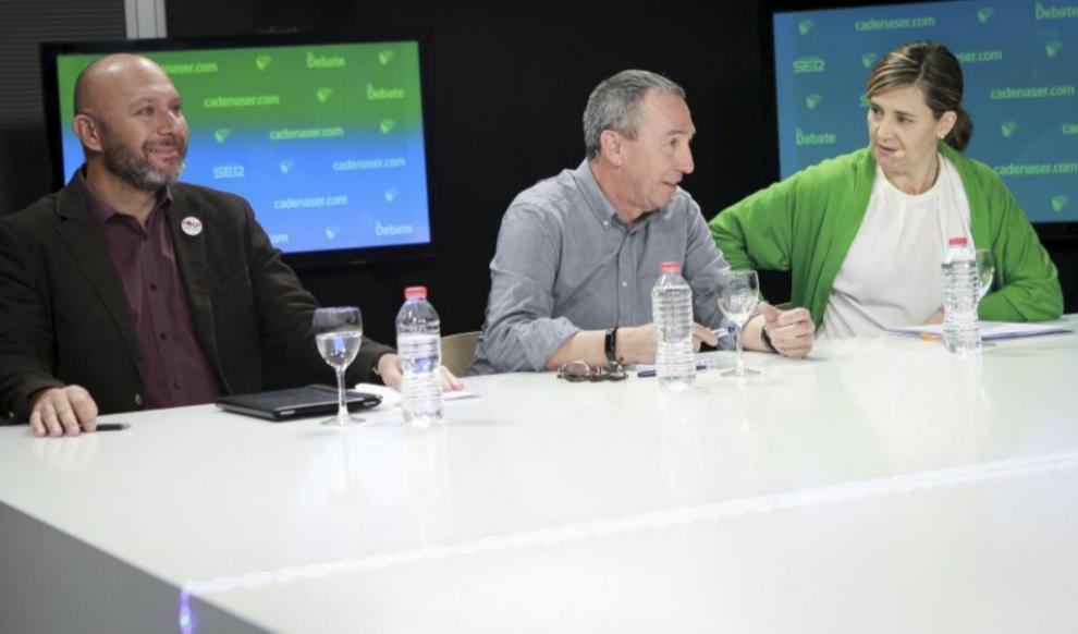 De izqda. a dcha., Ricardo Sixto (Esquerra Unida), Joan Baldoví...