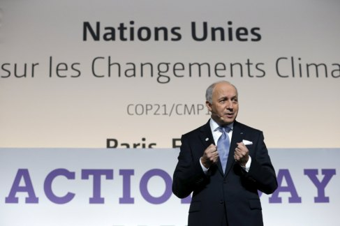 El ministro de Exteriores francés, Lauren Fabius, este sábado en...