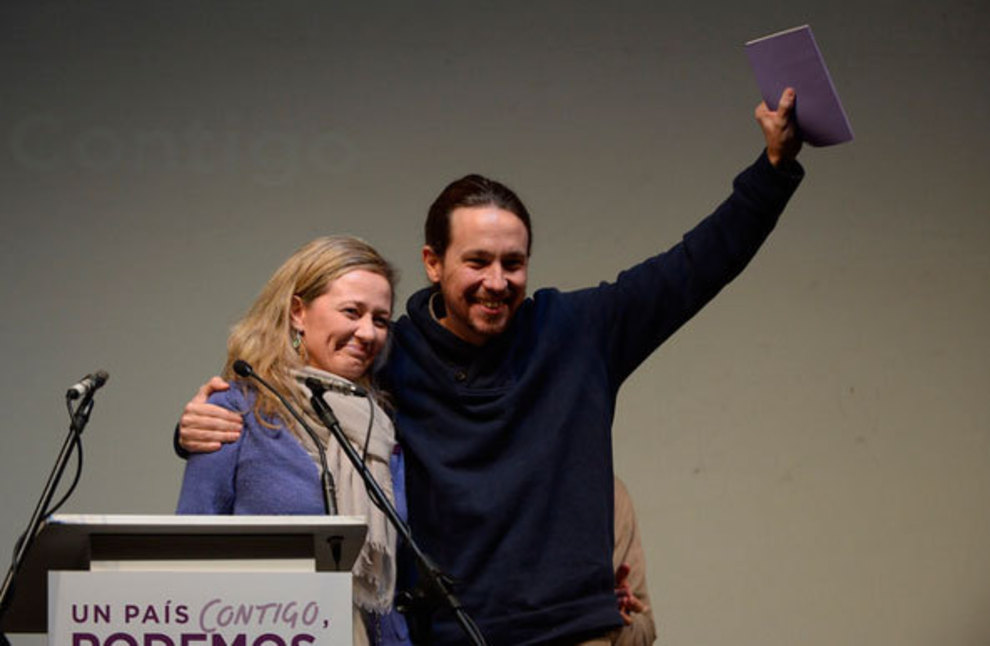 Pablo Iglesias presenta a Victoria Rosell en Málaga.