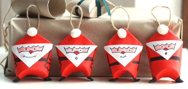 6 adornos para el rbol de navidad con tubos de papel for Ornamentacion para navidad