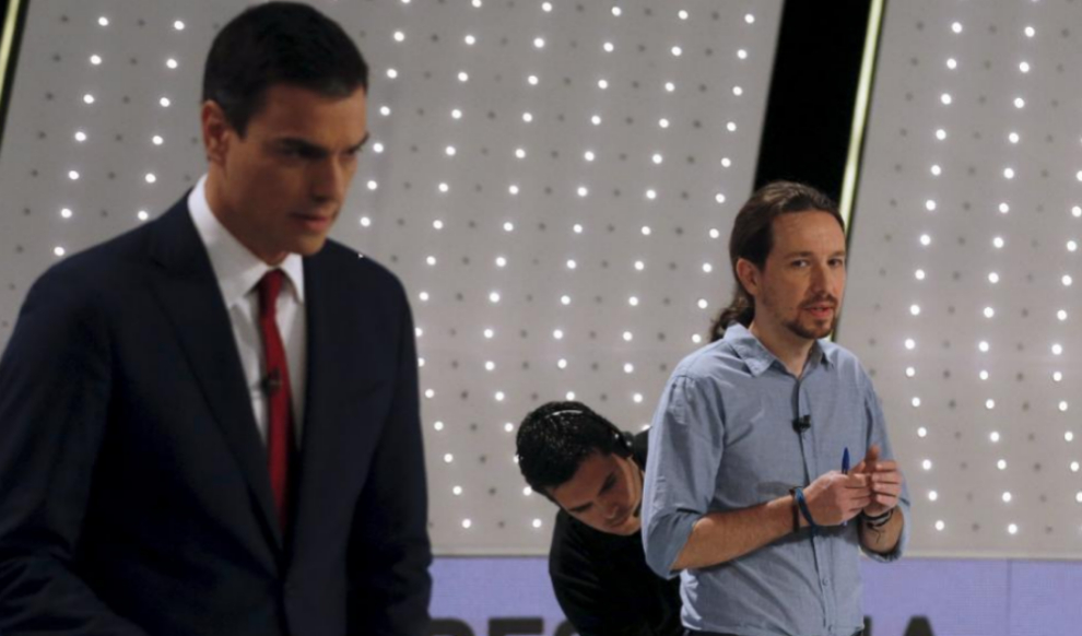 Pedro Sánchez y Pablo Iglesias, momentos antes del inicio del debate...