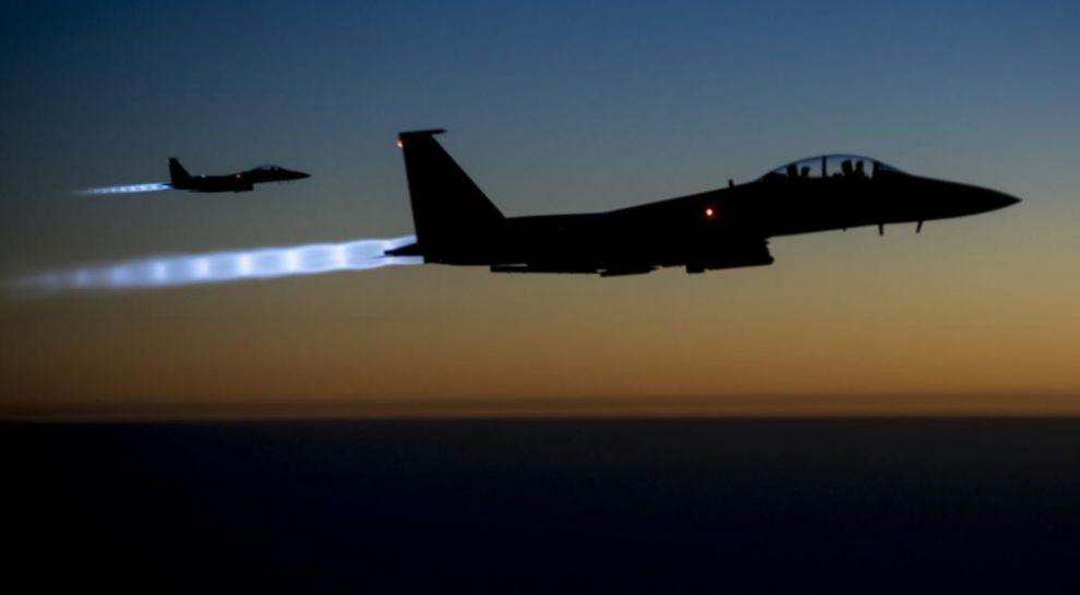 Aviones de combate estadounidenses durante una operación en Siria.