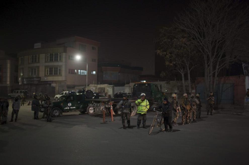 Cordón de seguridad en la zona de atentado.