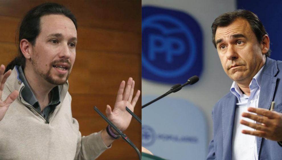 Pablo Iglesias y el vicesecretario de Organización del PP, Fernando...