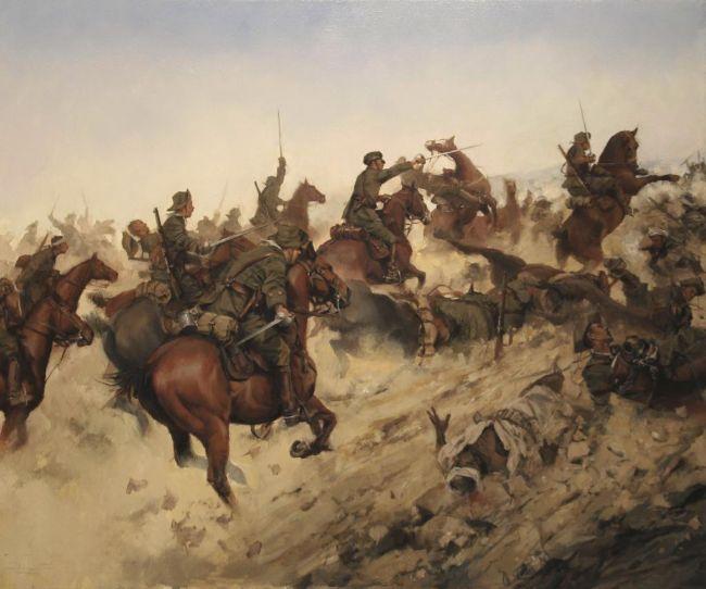 Carga del Regimiento de Caballería Alcántara según el pincel de...