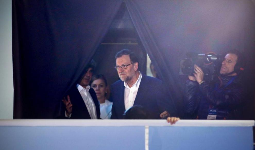 Mariano Rajoy, en el balcón de Génova la noche del 20-D.
