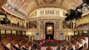 Panorámica del Hemiciclo del Congreso de los Diputados.