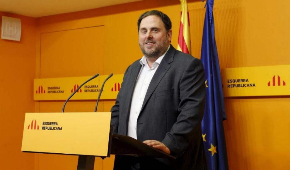 El líder de ERC, Oriol Junqueras, ayer, durante la rueda de prensa...