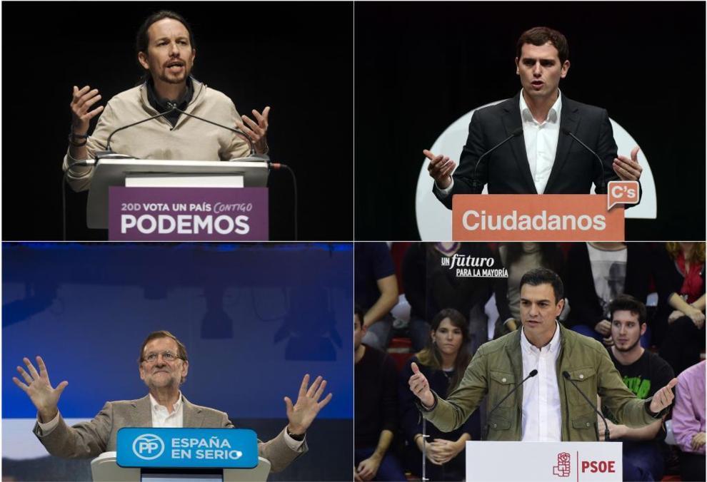 Los líderes de los principales partidos en liza por gobernar.