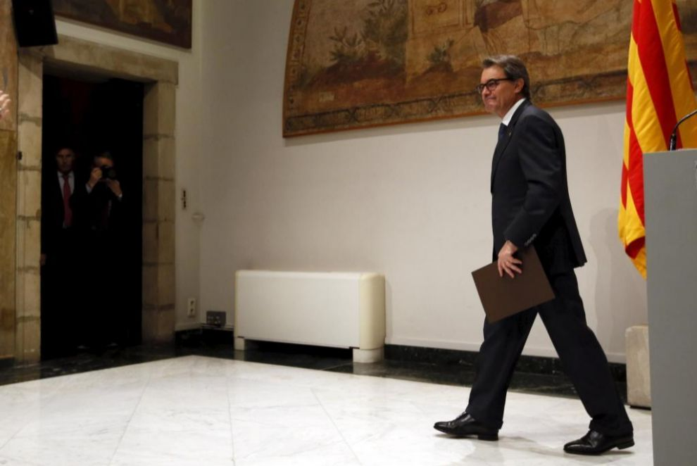 Artur Mas, este sábado en el Palau de la Generalitat.