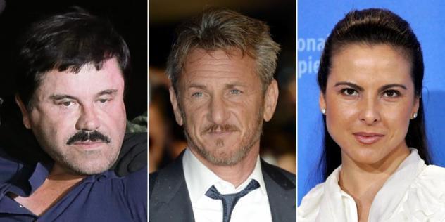 El Chapo, el actor Sean Penn y la actriz mexicana Kate del Castillo.