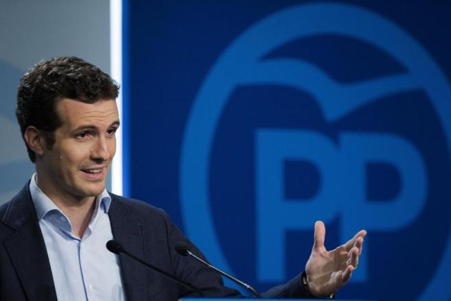 Pablo Casado, durante la rueda de prensa posterior a la reunión del...