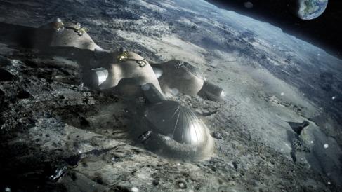Recreación artística de una futura colonia lunar.