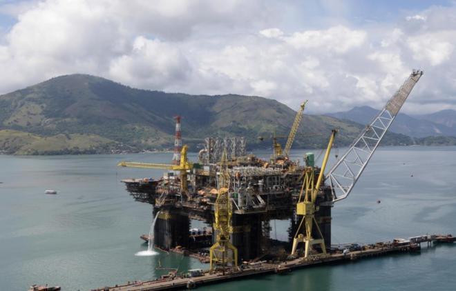 Construcción de la plataforma petrolífera de P-56 de Petrobras en...