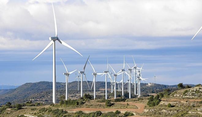 Aerogeneradores en un parque eólico de Castilla-La Mancha.