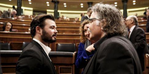 Gabriel Rufián y Joan Tardá, de ERC, el miércoles en el Congreso.