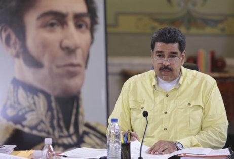 Maduro, en una reunión este jueves en el Palacio de Miraflores, en...