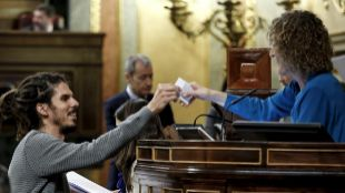 El diputado de Podemos Alberto Rodríguez, en la constitución de las...
