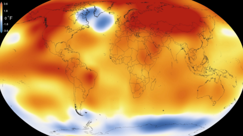 Mapamundi que muestra la temperatura media global en 2015.