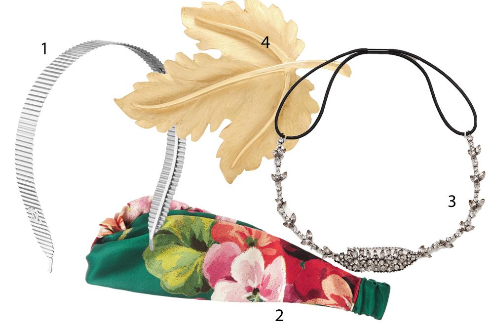 1. Diadema (990 euros),  de Chanel. 2. Bandana de flores (250 euros),...