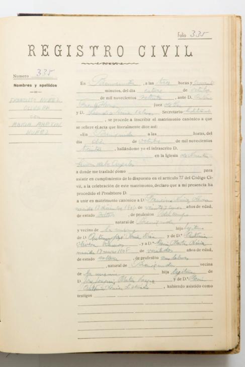 Inscripción de la boda del extremeño Francisco con María Martín...