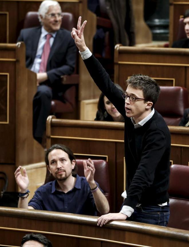 Pablo Iglesias e Íñigo Errejón, la pasada semana, en la sesión en...