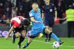 Barcelona's midfielder Andres Iniesta (R) vies with Athletic...
