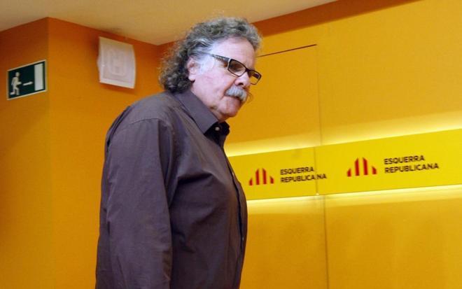 Joan Tardà, portavoz de ERC en el Congreso, en rueda de prensa en la...