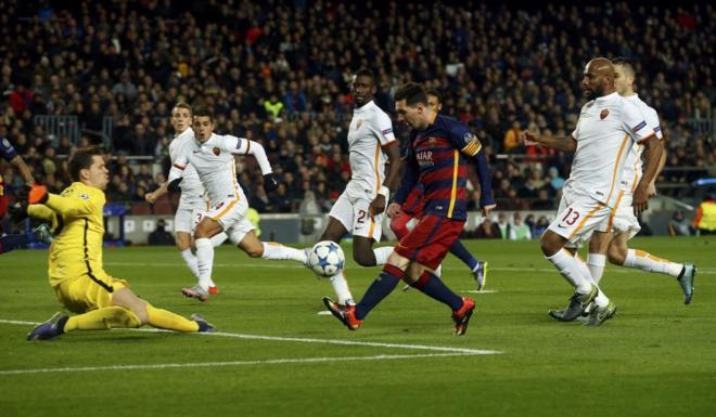 Partido de Champions entre el Barça y la Roma en la Champions.