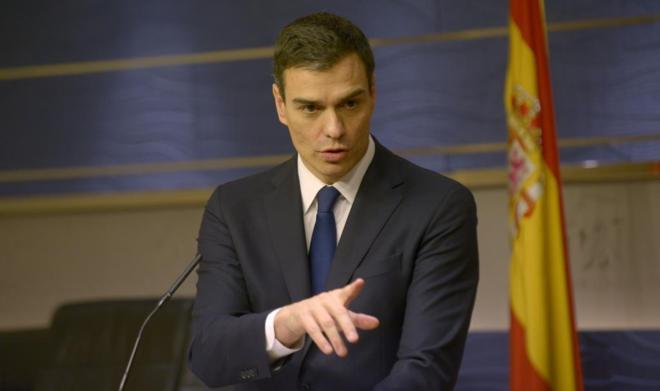 Pedro Sánchez, en rueda de prensa en el Congreso.
