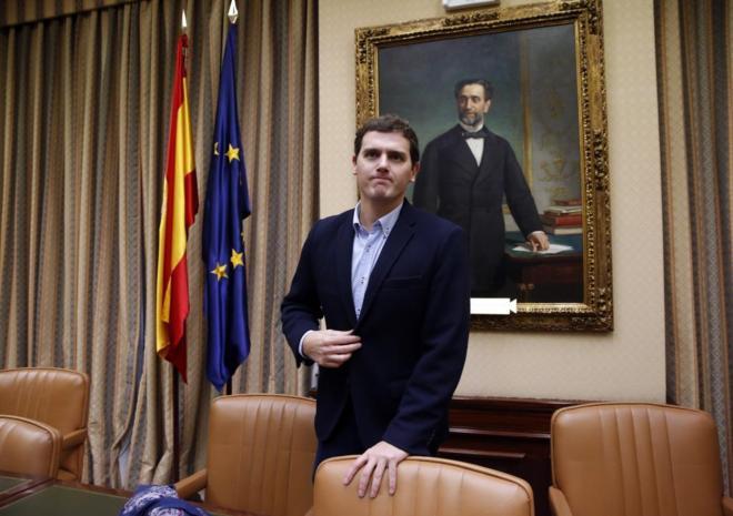 Albert Rivera, en la reunión del grupo de Ciudadanos en el Congreso.