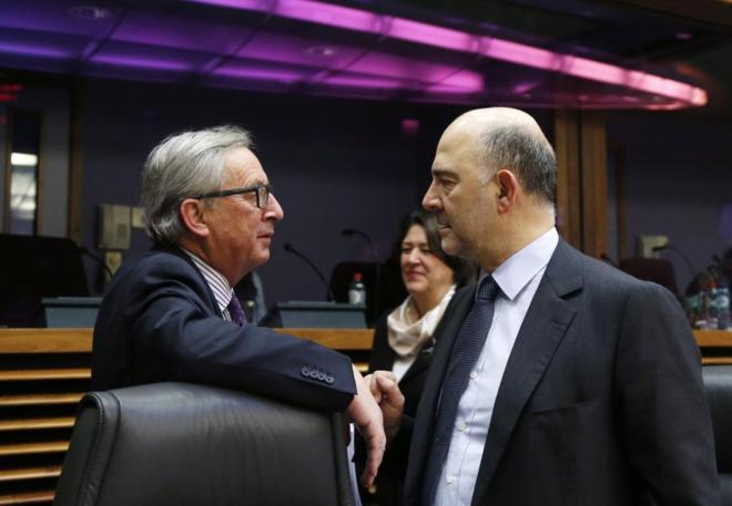 Jean-Claude Juncker, presidente de la Comisión Europea y Pierre...