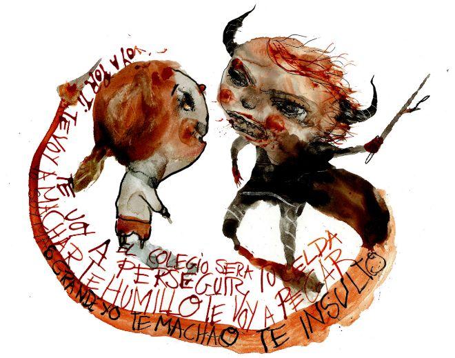 Niños acosadores. Acoso escolar. Ilustración: Raúl Arias / El Mundo