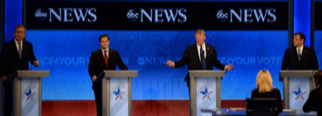 Jeb Bush, Marco Rubio, Donald Trump, y Ted Cruz, durante el debate.