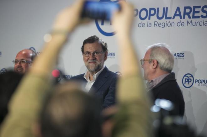 Mariano Rajoy, en un acto del PP celebrado en Murcia el pasado...