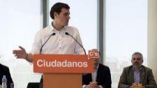 Albert Rivera, el sábado, durante una reunión con parlamentarios de...