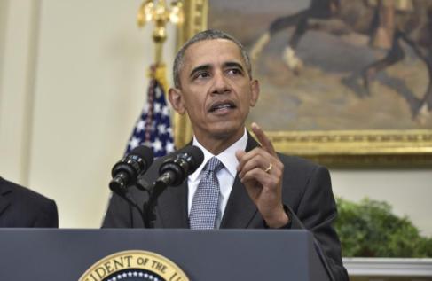 El presidente Barack Obama en su declaración de hoy en la Casa...