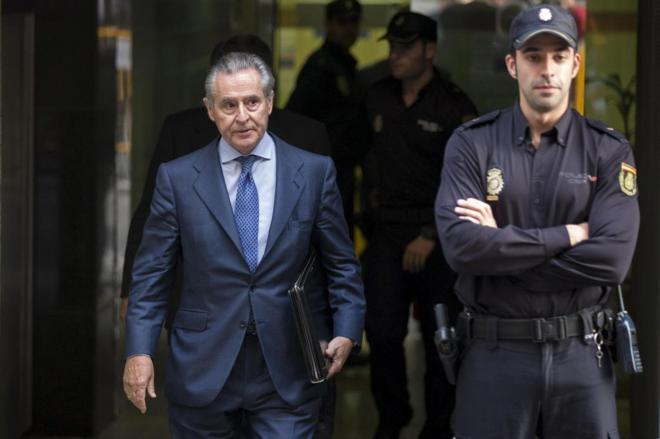 Miguel Blesa después de declarar en 2014 en la Audiencia Nacional por...