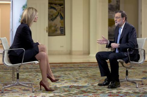 Mariano Rajoy durante la entrevista concedida hoy a Antena 3.