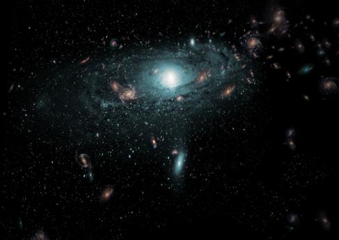 Recreación de las nuevas galaxias encontradas tras la Vía Láctea.