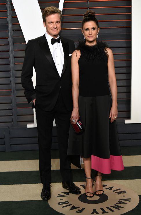 Colin Firth acudió a la fiesta junto con su mujer, Livia Giuggioli.