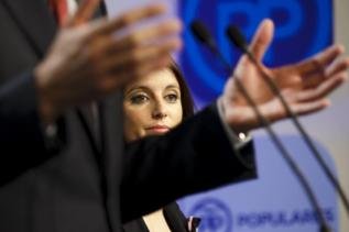 Andrea Levy, vicesecretaria del PP, en rueda de prensa en la sede de...