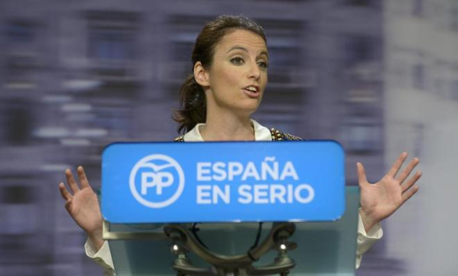 Andrea Levy, vicesecretaria de Estudios y Programas del PP, en rueda...
